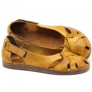 Rasteira Flat em couro amarelo - Código - 141059