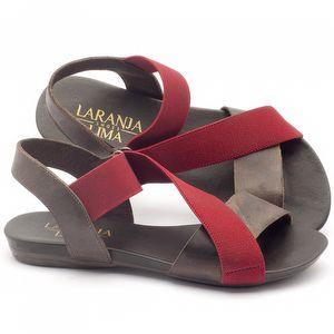 Rasteira Flat em couro marrom e elástico vermelho - Código - 137125