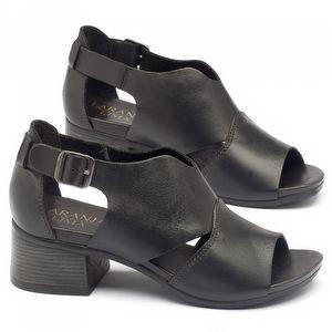 Sandália Boho em couro preto com salto de 5cm - Código - 137103