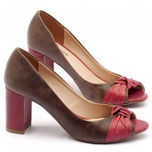 Peep Toe Salto Medio de 7cm em couro marrom - Código - 9401