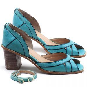 Sandália Salto Médio de 6cm em couro Azul Piscina - Código - 3489