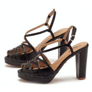 Sandália Salto alto grosso de 10cm e pata de 2cm em couro preta - 3410