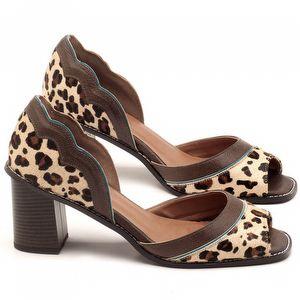 Sandália Salto médio de 6cm em couro Animal Print Onça - Código - 3569