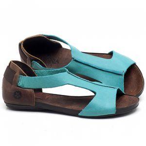 Rasteira Flat em couro Azul Piscina - Código - 137186