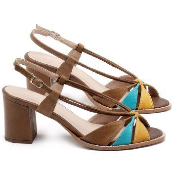 Sandália Salto Médio de 6cm em couro Marrom, Amarelo e Azul - Código - 3665