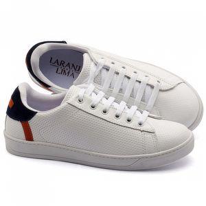 Tênis Cano Baixo em couro branco, marinho, laranja - Código - 99053