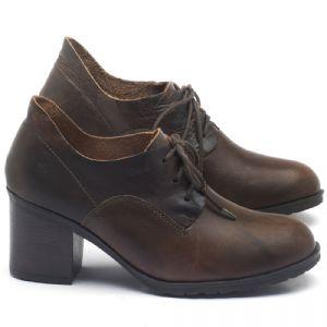 Sapato Fechado Estilo Boho-Chic em couro Marrom - CÓDIGO - 137243