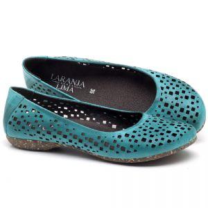 Sapatilha Bico Fechado em couro Azul Piscina - Código - 148016