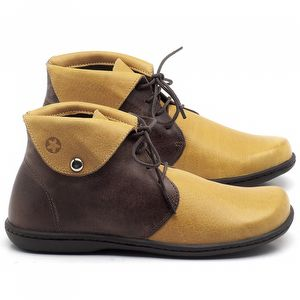 Flat Boot em couro Amarelo com Telha - Código - 56126