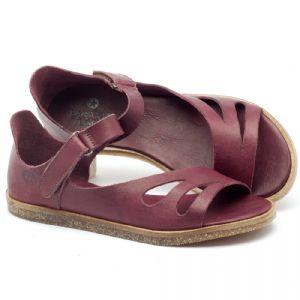 Rasteira Flat em couro roxo - Código - 141054