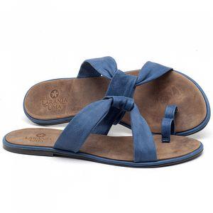 Rasteira Flat em couro Azul Bic - Código - 3655