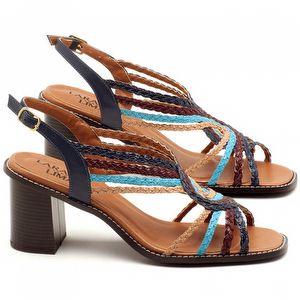 Sandália Salto medio de 6cm em couro Azul Indigo - Código - 3547