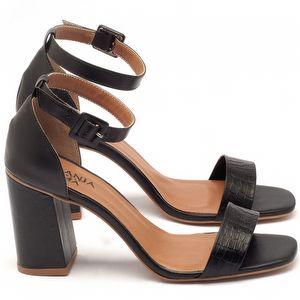 Sandália Salto alto de 9cm em couro preto - Código - 3561