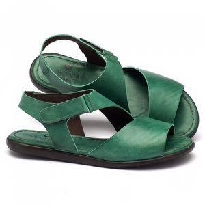 Rasteira Flat em couro verde 141010