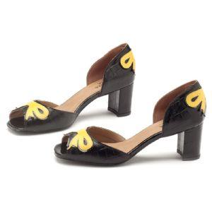 Peep Toe Salto Medio de 6 cm Preto com Amarelo 3397
