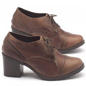 Sapato Fechado Estilo Boho-Chic com salto de 6cm em couro marrom - Código - 137042
