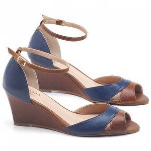 Sandália Boho Médio de 6cm em couro Azul Cobalto com Conhaque - Código - 3642