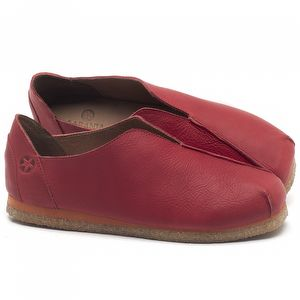 Flat Shoes em couro Vermelho - Código - 3050