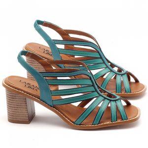 Sandália Salto Médio de 6cm em couro azul turquesa - Código - 3538