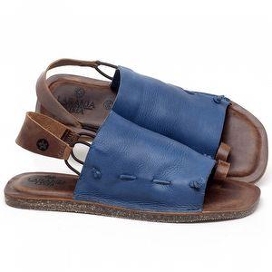 Rasteira Flat em couro Azul - Código - 141154