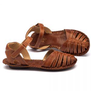 Rasteira Flat em couro caramelo 136027
