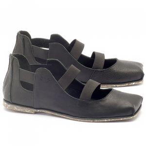 Rasteira Flat em couro preto com palmilha em couro - Código - 145017
