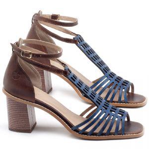 Sandália Salto Médio de 6cm em couro Azul Bic - Código - 3551