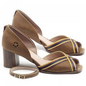 Sandália Salto Médio de 6cm em couro Caramelo - Código - 3694