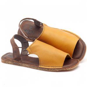 Rasteira Flat em couro amarelo com marrom - Código - 141043