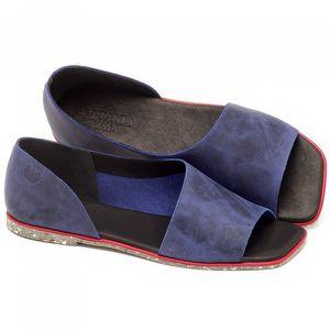 Rasteira Flat em couro azul marinho - Código 145013