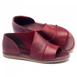 Rasteira Flat em couro vermelho - Código - 141018