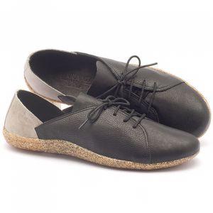 Tênis Cano Baixo em couro preto e cinza - Código - 145011
