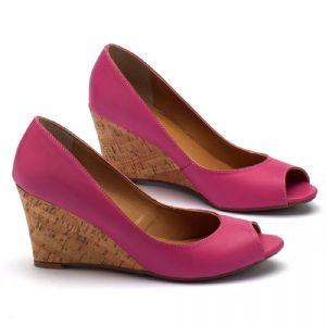 Peep Toe Salto Medio de 8cm em couro rosa 9339