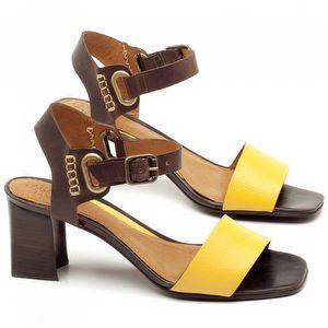 Sandália Salto de 6,5cm em couro Amarelo com Café - Código - 56170