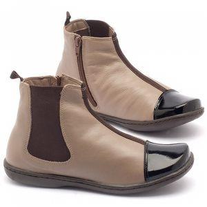 Flat Boot em couro fendi com preto - Código - 56136