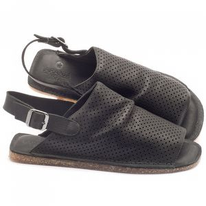 Rasteira Flat em couro preto - Código - 141042