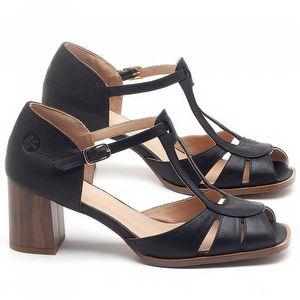 Sandália Salto Médio de 6cm em couro Preto - Código - 3689
