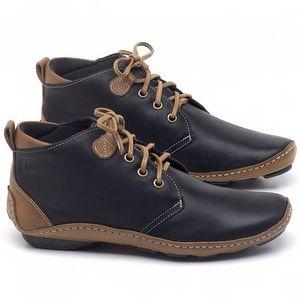 Flat Boot em couro Preto - Código - 136095