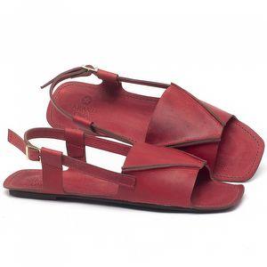 Rasteira Flat em couro Vermelho - Código - 3710