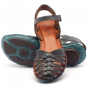 Rasteira Flat em couro azul - Código - 136027