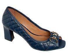 Peep Toe Salto Medio Azul Bridão 107063