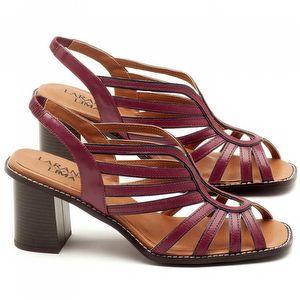 Sandália Salto Médio de 6cm em couro Vermelho Amora - Código - 3538