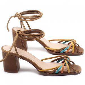 Sandália Salto Médio de 6cm em couro Conhaque - Código - 3702
