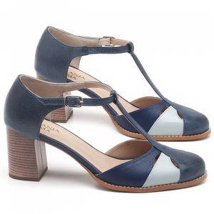 Sandália Salto médio de 6cm em couro Azul Marinho - Código - 3617