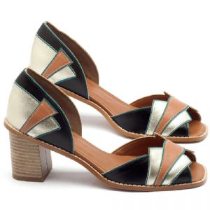 Sandália Salto Médio de 6cm em couro preto, prata velho, turquesa e bege - Código - 3534
