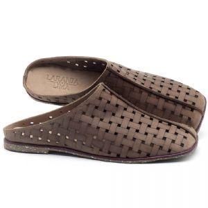 Rasteira Flat em couro Amendoa - Código - 145042