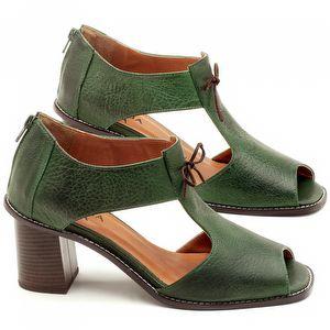 Sandália Salto Médio de 6cm em couro Verde Militar - Código - 3581