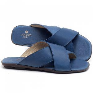 Rasteira Flat em couro Azul bic - Código - 9458