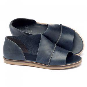 Rasteira Flat em couro marinho - Código - 141055