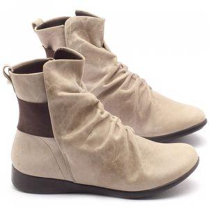 Flat Boot em couro creme - Código - 137108